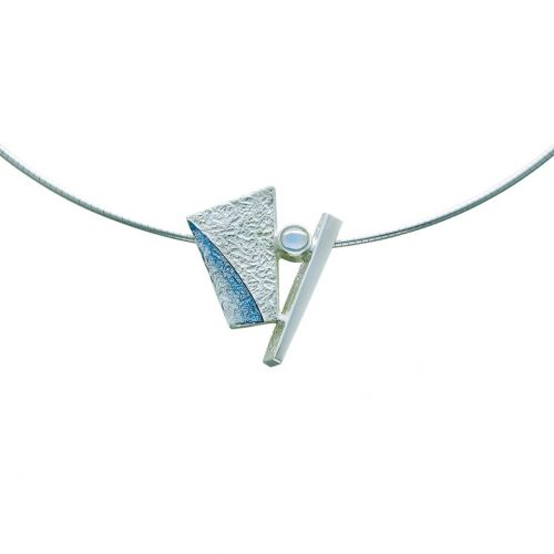 Standing Stones Necklet set with Moonstone - Slate colour