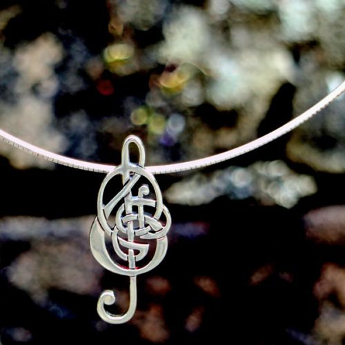 Celtic Treble Clef Pendant on Silver Wire