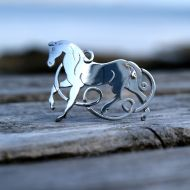 Silver Celtic Horse Brooch - Epona