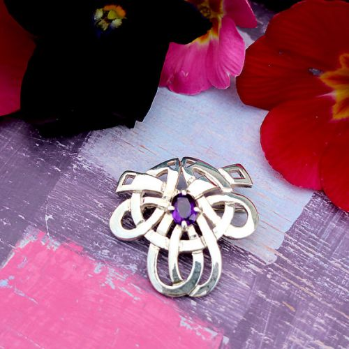 Silver Celtic Brooch set with Amethyst