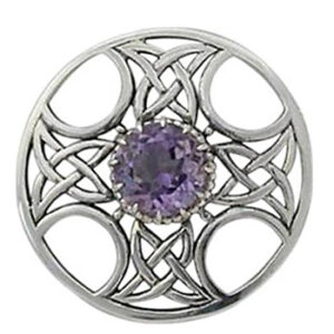 Sterling silver Celtic brooch set with amethyst